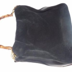 Gucci Bags - Vintage Black Suede Body Leather Accents